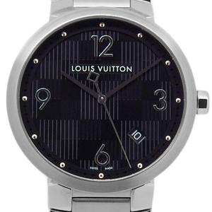 Louis Vuitton Tambour Q1d001 Damier Mens Quartz Black Character Board