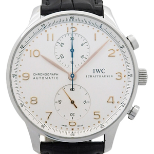 Iwc Portuguese Chronograph Iw 371401 Golden Hand Men's Automatic Silver Dial Plate