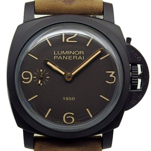As Good New! Panerai Luminol 1950 8 Days Composite Pam 00375 Men's Nth Handwritten Brown Dial