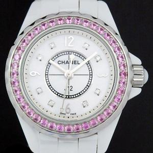Chanel J12 Pink Sapphire Bezel 8p Diamond H3243 29mm White Ceramic Ladies' Quartz Shell Dial