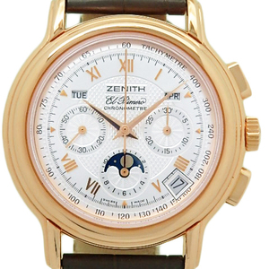 K18rg Zenith Chrono Master T Triple Calendar Moon Phase 17.0240.410 Men's Automa Back Scale Silver Dial