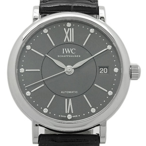 Iwc Portofino Iw 458102 Mid Size 12p Diamond Automatic Gray Dial Plate