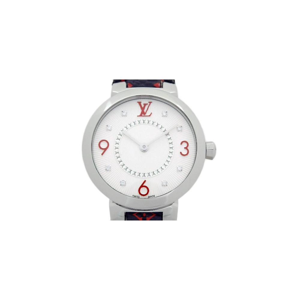 Louis Vuitton Tambour Monogram 8p Diamond Q 12 Mga Quartz Ladies Silver Dial
