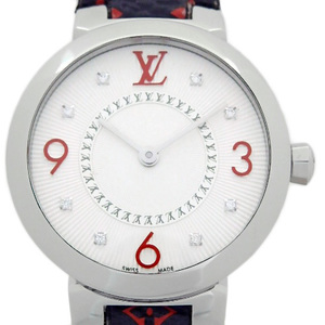 Louis Vuitton Tambour Monogram 8p Diamond Q 12 Mga Quartz Ladies Silver Dial