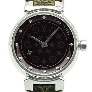 Louis Vuitton Tambour Disc Diamond Q12m3 10p Monogram Belt Women's Quartz Dark Purple Dial