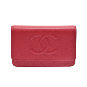 Used Chanel Chain Wallet Caviar Skin Red Type Sv Hardware Fitting Box Gala ◇