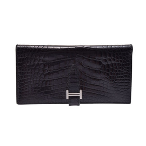 Used Hermès Bearnsfure Alligator Black Sv Hardware □ K Engraved Long Purse Hermes ◇