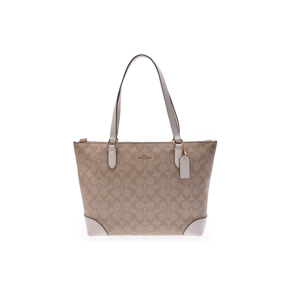 cb19c03a7b ... discount used coach tote bag pvc beige white signature f29208 outlet  not cda58 bccb3