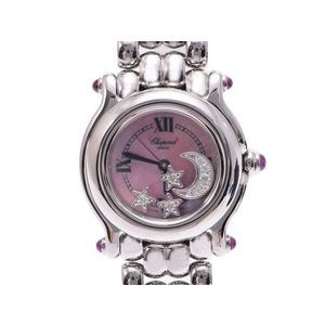 Used Chopard Happy Sports Moon & Star 27 / 8250-42 Shell Dial Ss Box Gala Quartz Wrist Women's ◇