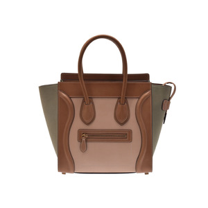 Second-hand Celine Luggage Micro Shopper Leather Tricolor Tea / Beige Series Light Moth Green New Same ◇