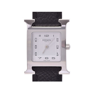 New Hermes H Watch Hh1.210 Ss / Epson Black A Engraved Box Gala Quartz Wrist Ladies ◇