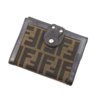 Fendi Bi-fold Wallet Purse Women's Zucca Handle Canvas Leather Italian Made Coin Brown Womens