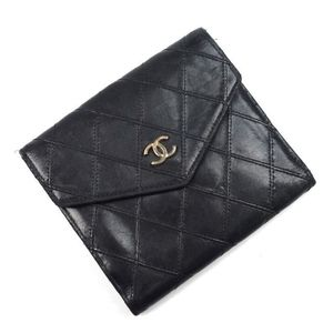 Chanel Bicolore Lambskin Coco Mark W Hook Folded Wallet Women's Black Gold Brand Accessories