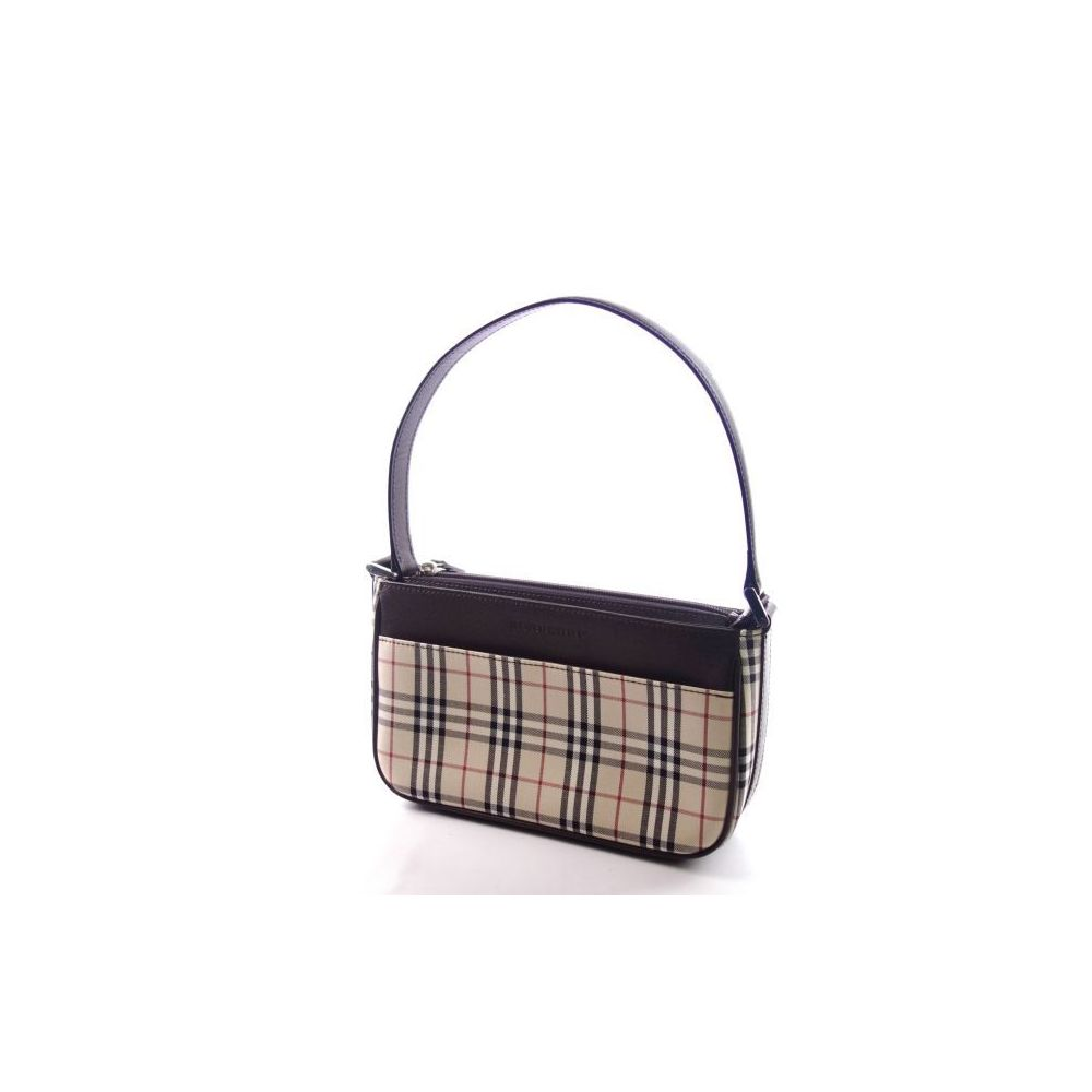 Burberry Burberry Check Leather Handbag Ladies Bag Brown Light Beige Series