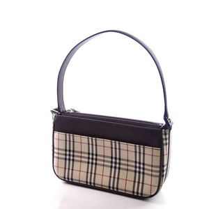 Burberry Burberry Check Leather Handbag Ladies Bag Brown Light Beige Series