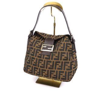 Fendi Fendi Mumma Bucket Handbag Zucca Handle Canvas Leather Italian Made Brown Ladies Bag