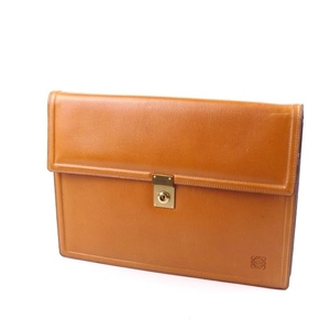 Loewe Anagram Clutch Bag Second Document Mens Leather Brown Men's Business Briefcase