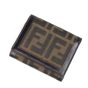 Fendi Tri-fold Wallet Purse Women's Zucca Handle Canvas Leather Italian Made Brown Compact