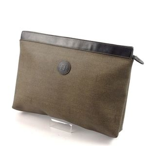 Fendi Clutch Bag Second Men's Pvc Leather Italian Khaki