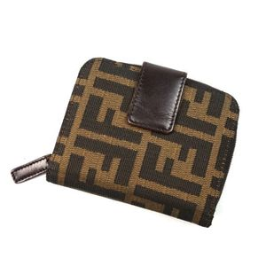 Fendi Bi-fold Wallet Purse Women's Zucca Handle Canvas Leather Italian Made Coin Brown Compact