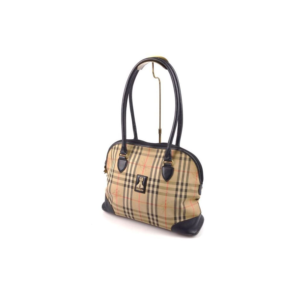 3f4553a5277d Made In England Vintage Burberry Burberrys Horse Ferry Check Handbag Ladies  Leather Canvas Beige Ladies  Bag