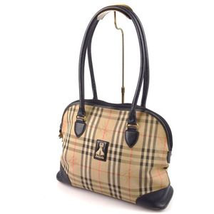 Made In England Vintage Burberry Burberrys Horse Ferry Check Handbag Ladies Leather Canvas Beige Ladies' Bag