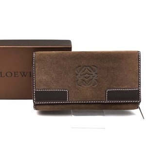 Loewe Loewe Anagram Round Zipper Long Purse Wallet Women's Suede Leather Coin Brown Brand Sundries Ladies