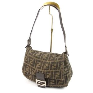 Fendi Mumma Bucket Zucca Handle Wool Leather Handbag Brown Brand Miscellaneous Goods Bag