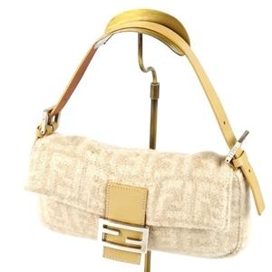Fendi 2308-26424-009 Mumma Bucket Zucca Pattern Handbag Wool Leather Beige Women's Bag