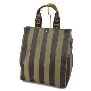 Fendi Pekan Handbag Tote Bag Women's Strap Nylon Italian Khaki Black Ladies'