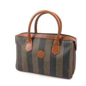 Fendi Pekan Handbag Mini Boston Women's Stripe Pvc Italian Black Khaki Ladies' Bag