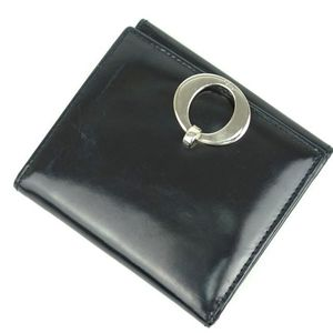 Christian Dior Folded Wallet Purse Men's Leather Real Coin Made In Spain Black Brand Miscellaneous Goods