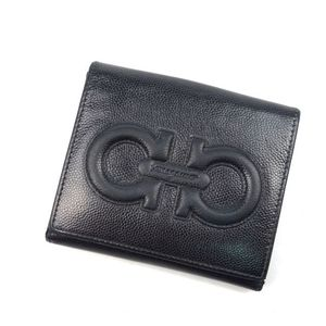 Salvatore Ferragamo Gancini W Hook Folded Wallet Ladies Italian Black