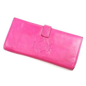 Loewe Anagram Genuine Leather Fold Wallet Long Ladies Pink Brand Miscellaneous Goods