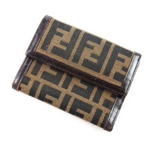 Fendi Zucca Handle Canvas Leather Trifold Wallet Made In Italy Ladies Brown Camel Women's Wallets Brand Miscellaneous Goods Accessories