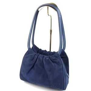 Loewe Anaglym Suede Leather Handbag Women's Navy Blue Ladies' Bags Miscellaneous Goods Accessories