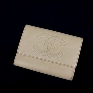 Chanel Caviar Skin Kokomark Tri-fold Wallet Ivory Italian Made Ladies Box With