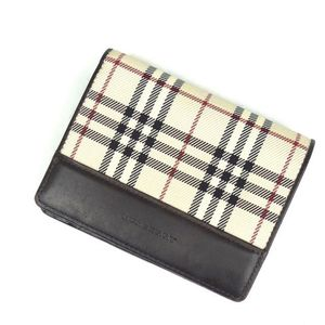 Burberry Wallet Purse Men's Check Leather Coin Brown Beige Brand Miscellaneous Goods