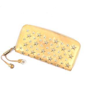 Jimmy Choo Enamel Studs Round Zipper Wallet Beige Ladies Italian Made