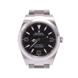 中古 ロレックス エクスプローラ1 EX1 214270 SS ランダム番 黒文字盤 前期 箱 ギャラ メンズ 腕時計 自動巻 ROLEX◇