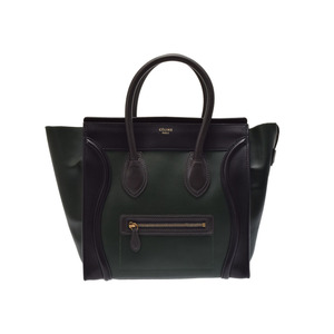 Used Celine Luggage Mini Shopper Leather Black / Dark Green Series Gray ◇
