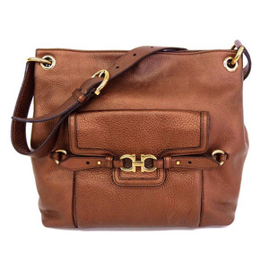 Salvatore Ferragamo Ferragamo Gancini Leather Shoulder Bag Brown
