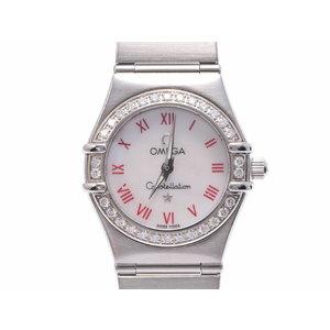 中古 オメガ コンステレーション 1466.63 SS シェル文字盤 ダイヤベゼル クオーツ レディース 腕時計 OMEGA◇