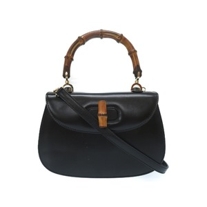 Gucci Bamboo Black Leather 2 Way Bag 000 2046 0188 Handbag 0396