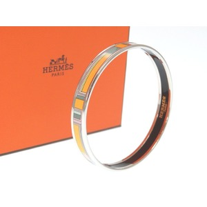 Unused Hermes Emauey Bangle Pm Cloisonne Bakeware Silver Hardware A Engraved 2017 Made 0222 Hmes