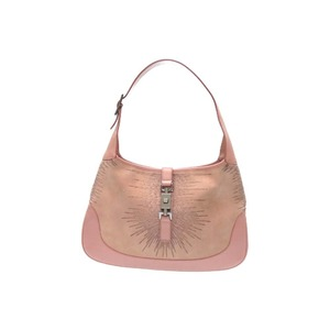 Gucci Jackie Embroidery Semi-shoulder Bag Suede / Leather 001 3906 Pink 0383