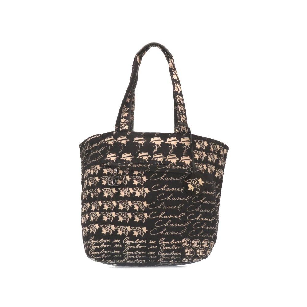 d1d9803a33e9fb Chanel Canvas Coco Mark Beach Bag Black Pink Tote 0380