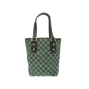 Gucci Gg Canvas Leather Green Black 257250 Handbag Bag 0198 Women's As New