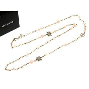 Chanel Costume Pearl Coco Mark Necklace Pink Gold As Brand New B 18 2018 0330