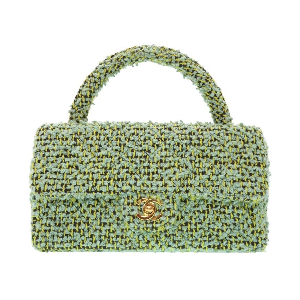 9ba29b4d0c4b Chanel Tweed Handbag Parent / Child Bag Matrasse Green 0076 Guarantee Card  Serial Seal Included